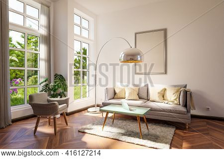 Retro Vintage Style Living Room With Grey Two Seated Couch, Large Floor Lamp And White Illuminated C