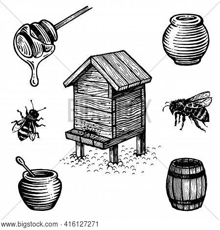 Honey Set, Drawing. A Collection Of Farm Products. Black And White Vector Drawing. Retro Drawing, Vi