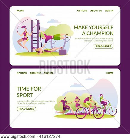 Sport Outdoor, Healthy Man Woman Character Lifestyle, Landing Banner. Make Yourself Champion, Time F