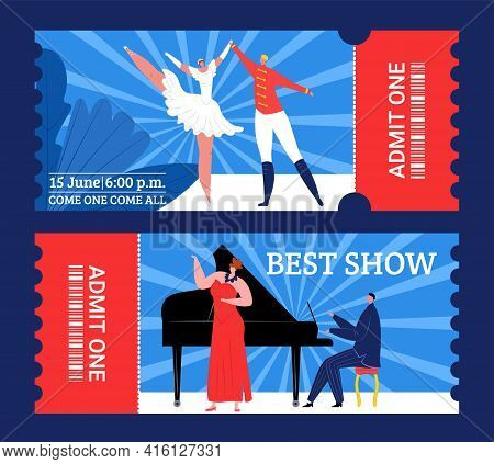 Theater Tickets To Best Show, Entertainment Performance, Vector Illustration. Coupon Design Set For