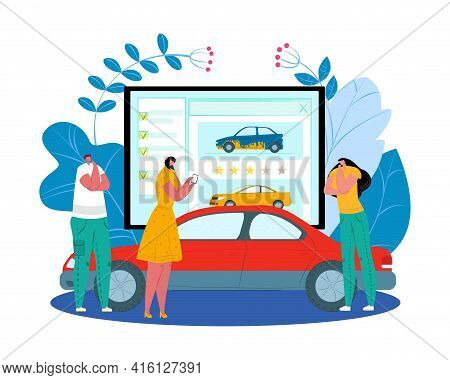 Transport Rental, Service With Automobile Concept, Vector Illustration. Man Woman Character Use Smar