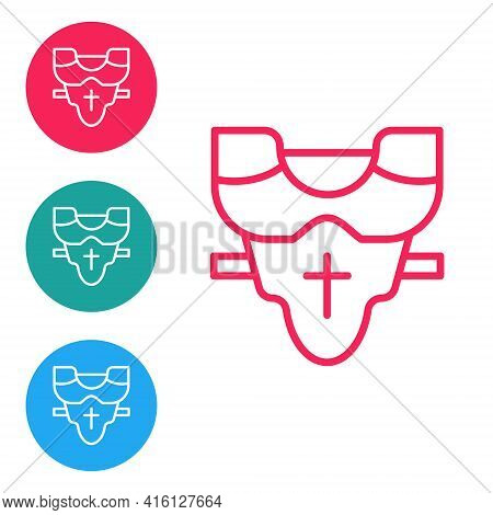 Red Line American Football Player Chest Protector Icon Isolated On White Background. Shoulder And Ch