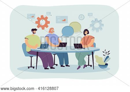 Cartoon Team Coworking Process Flat Vector Illustration..people Characters With Laptops Sitting Arou