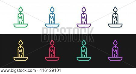 Set Line Burning Candle Icon Isolated On Black And White Background. Cylindrical Candle Stick With B