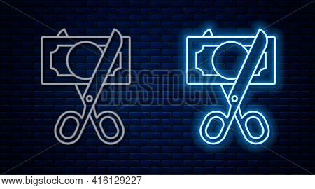 Glowing Neon Line Scissors Cutting Money Icon Isolated On Brick Wall Background. Price, Cost Reducti