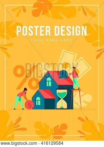 Tiny People Buying House In Debt Isolated Flat Vector Illustration. Abstract Young Couple Investing