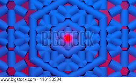 Scientific Or Technology Abstractions With Grid Surface And Surreal Symmetric Structure Around The R