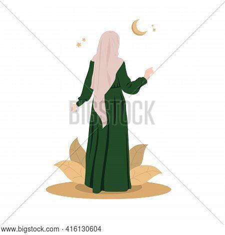 Muslim Girl In A Beautiful Pose In A Hijab. Best Islamic Model From The Arab Emirates. An Arab Girl