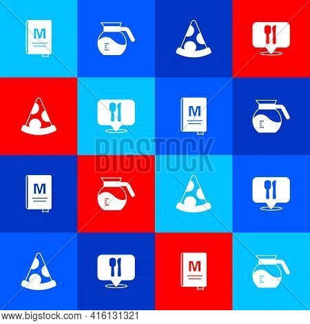 Set Restaurant Cafe Menu, Coffee Pot, Slice Pizza And Cafe And Restaurant Location Icon. Vector