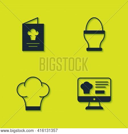 Set Cookbook, Online Ordering And Delivery, Chef Hat And Chicken Egg On Stand Icon. Vector