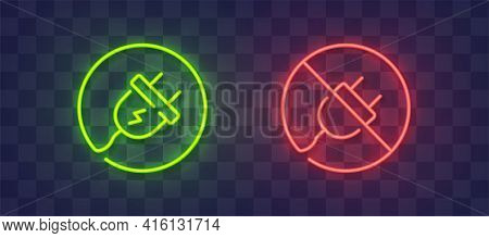 Connect And Disconnect Icon Neon, Bright Signboard, Light Banner. Electric Wire With Plug Neon Sign.