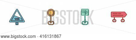 Set Steep Ascent And Descent Road, Road Traffic Sign, Traffic Turn Right And Icon. Vector