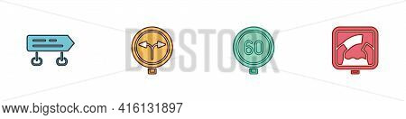 Set Road Traffic Sign, Fork In The Road, Speed Limit And Drawbridge Ahead Icon. Vector