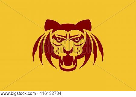 Bat Winged Tiger Head Logo. The Tiger Head Combined With Bat Wings, A Unique And Creative Logo, Symb