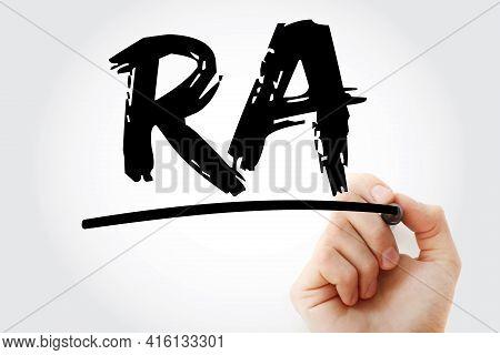 Ra - Rheumatoid Arthritis Acronym With Marker, Concept Background