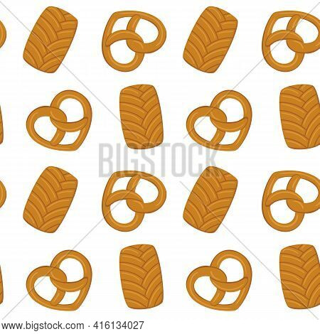 Baking Pattern. A Set Of Pastries From A Bakery Or Pastry Shop. Bakery Or Cafe Concept. Vector Illus
