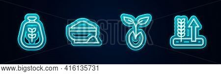 Set Line Bag Of Flour, Flour Bowl, Sprout And Wheat. Glowing Neon Icon. Vector