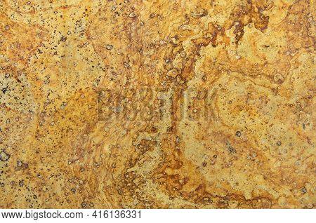 Facing Polished Natural Volcanic Stone Yellow Travertine