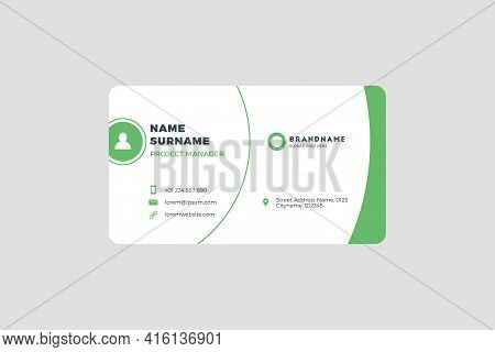 Corporate Business Card Print Template. Personal Visiting Card With Company Logo. Vector Illustratio