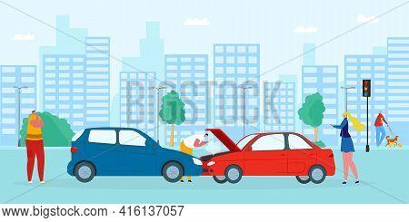 Road Accident, Car Collision, Vector Illustration. Cartoon Drivers Broke Transport, Crash On Street,