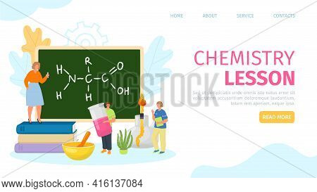 Chemistry Lesson, Study Knowledge In Class, Web Page, Vector Illustration. Teacher And Student Chara