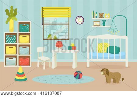 Nursery, Children Room For Newborn Baby, Home Indoor Furniture, Vector Illustration. Child Bedroom I