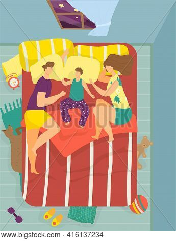 Family Sleep Together, Vector Illustration. Man Woman Character Couple With Child Dream In Bed, Cart