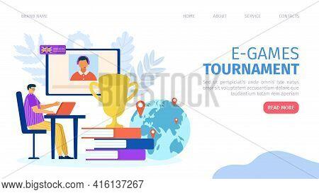 E-games Tournament, Cyber Gaming At Computer, Landing Banner, Vector Illustration. Man Gamer Charact