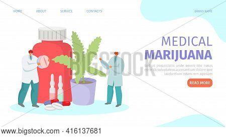 Medical Marijuana, Medicine Cannabis, Vector Illustration. Doctor People Character Prescribe Natural