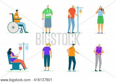 Person Character Pain, Isolated On White Vector Illustration. Man Woman Have Illness, Sick Person An