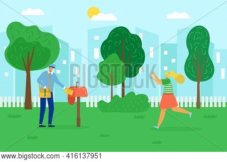Receive Mail, Postman Delivery, Vector Illustration. Man Worker Character Deliver Letter, Cartoon Ma