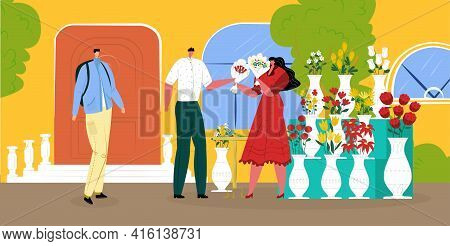 Man Buy Bouquet At Flower Shop, Vector Illustration. Woman Florist Character Hold Flat Plant For Cus