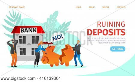 Bank Brake Down Bankrupt Crisis Lockdown Vector Illustration With Worried Man And Woman Characters F
