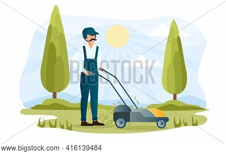 Male Character Is Mowing Lawn In Park. Concept Of Landscaping Service Worker, Gardener. Man With Mus