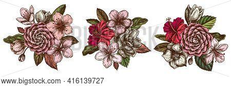 Flower Bouquet Of Colored Hibiscus, Plum Flowers, Peach Flowers, Sakura Flowers, Magnolia Flowers, C