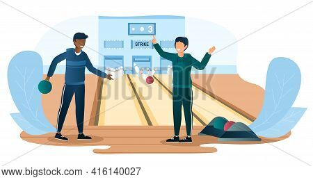 Two Male Characters Are Playing Bowling Together. Friends In Casual Clothes Are Throwing Ball On Bow