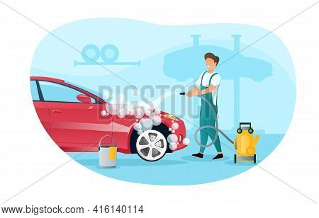 Male Character In Overall Is Washing A Car In Garage. Smiling Man Is Cleaning A Vehicle From Dust Wi