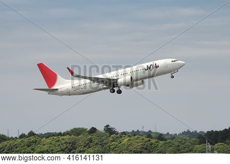 Tokyo, Japan - May 12, 2012: Japan Airlines Jal Express Boeing 737 Taking Off From Narita Internatio