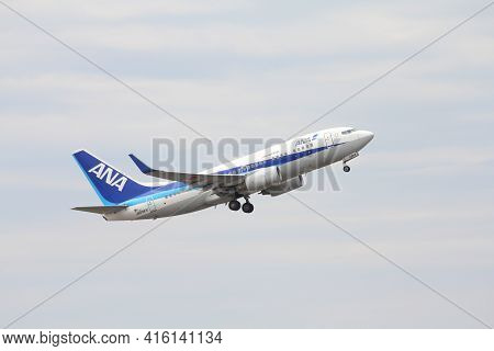 Tokyo, Japan - May 12, 2012: All Nippon Airways (ana) Boeing 737 Taking Off From Narita Internationa