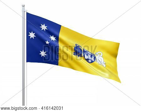 Australian Capital Territory (australian Internal Territory) Flag Waving On White Background, Close