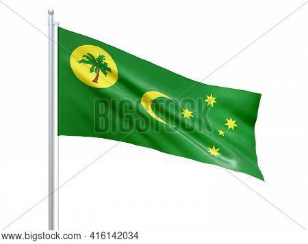 Cocos (keeling) Islands (australian External Territory) Flag Waving On White Background, Close Up, I