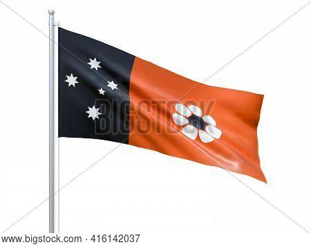 Northern Territory (australian Internal Territory) Flag Waving On White Background, Close Up, Isolat