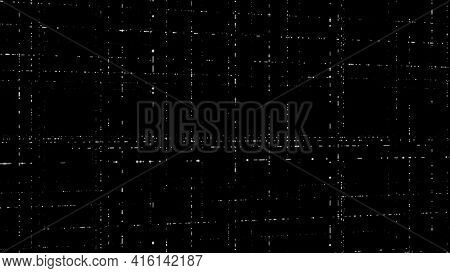 Moving Information Flows In Computer Network. Animation. 3d Levels Of Grids On Black Background. Cyb