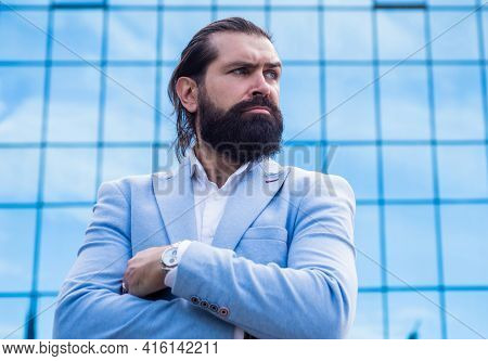 Confident And Handsome Guy. Serious Businessman. Brutal Bearded Man In Formalwear.