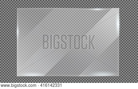 Glass Plate On Transparent Background, Clear Glass Showcase, Realistic Window Mockup, Acrylic And Gl