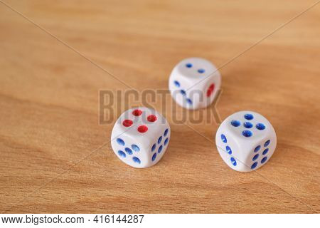 Dice Collection Of Dice Cubes On A Wooden Table