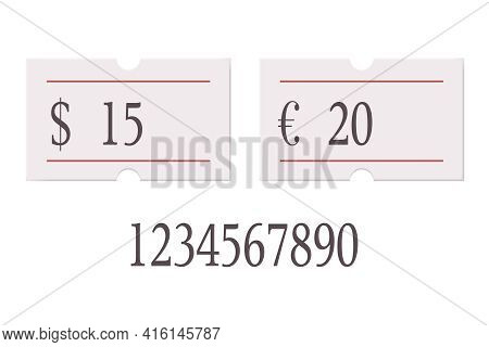 Euro And Usd Price Tag With Digit Number Set Isolated On White Background. Empty Style Paper Sticker
