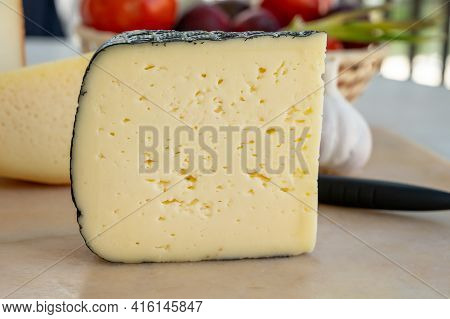 Cheese Collection, French Fol Epi  Cheese With Many Little Holes, Etorki, Tomme Noire Des Pyrenees A