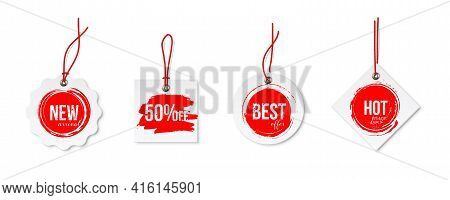 Clearance Sale Different Tags With Strings Set Isolated On White Background. Red Discount Voblers Bu