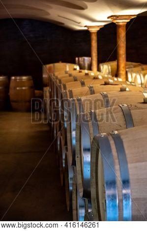 Cave With Many  Wine Casks On Wine Domain In Cotes De Provence Near Collobrieres , Region Provence,